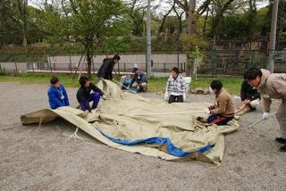 スカウトキャンプ研修会でキャンプ技能を勉強します