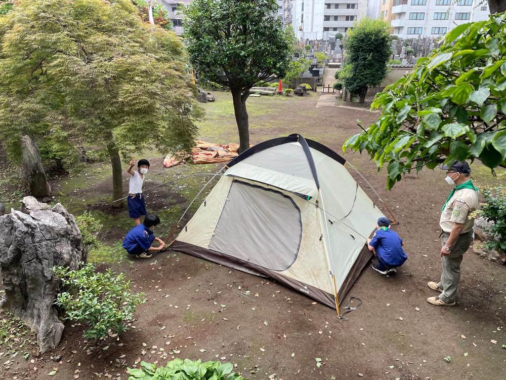 テントの立て方練習